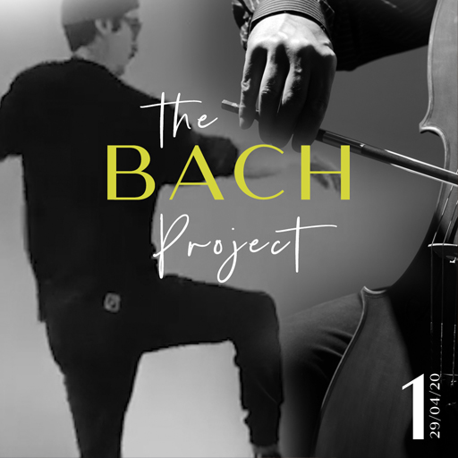 """Bach Project: Jay Harvey, dances in the background wearing all black. The side of a cello and a hand holding a bow plays the instrument in the foreground, Norm Adams. The words """"The Bach Project'' are in the centre of the screen. The picture is black and white except for the word """"Bach"""" which is lime green."""