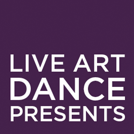 Live Art Dance Logo: A plum purple square with the words 'Live Art Dance Presents' in white letters, taking up the bottom half the screen.